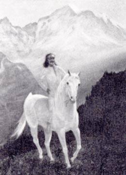 painting by Marguerite Poley of Baba on white horse